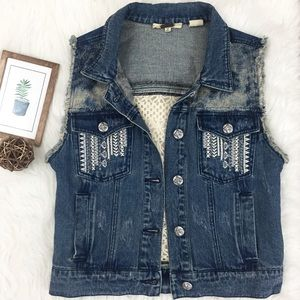 Miss Me Distressed Denim and Crocheted Vest